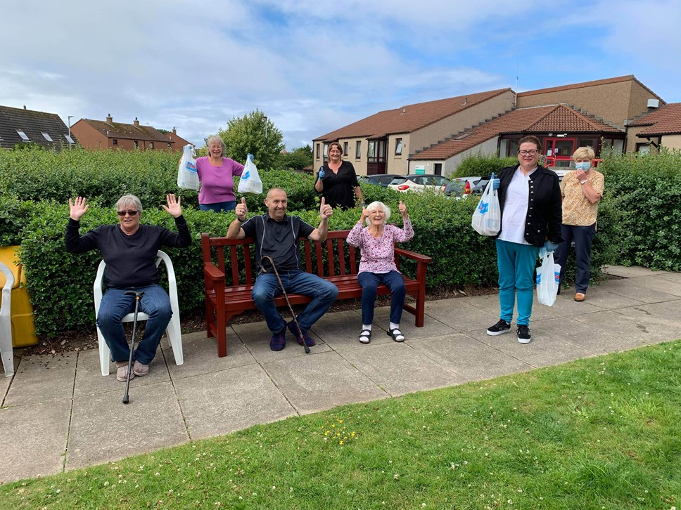 Buckie sheltered housing residents enjoy a different kind of community lunch: Residents and staff from Burnside Court, with Buckie East Central Locality Group members
