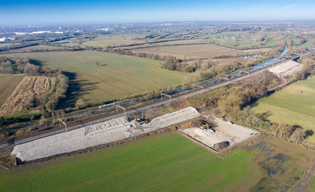 Full wide shot of 1km stretch of railway being strengthened at Hopsford Hall Spring 2021-2