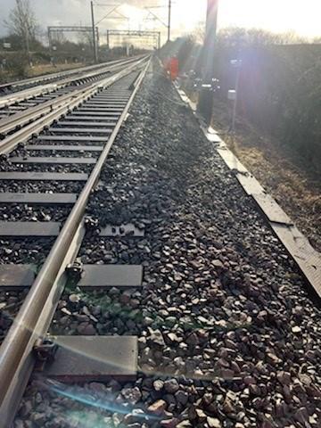Damage to cable troughs after Hillmorton Junction landslip