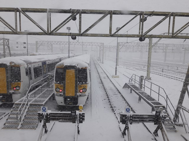 Rail services to be restored in Anglia after heavy snow hits further south east: Shoebury depot 27022018
