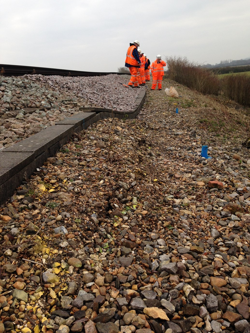 Passengers encouraged to check before they travel after landslip hits Sussex railway: Ripe landslip site, Sussex