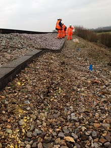 Ripe landslip site, Sussex: This picture shows the dip caused by a landslip on the railway between Glynde and Berwick in Sussex (at a hamlet called Ripe)