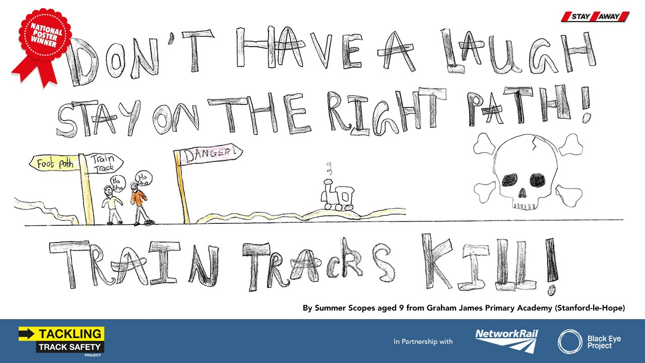 NINE-YEAR-OLD GIRL DESIGNS NEW NATIONAL RAILWAY SAFETY CAMPAIGN: Stay off the tracks OIS Poster National Winner