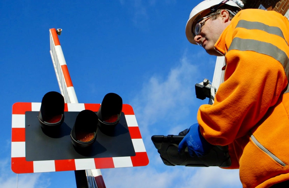Level crossing cameras installed to catch motorists who endanger lives on the railway: Level crossing stock photo