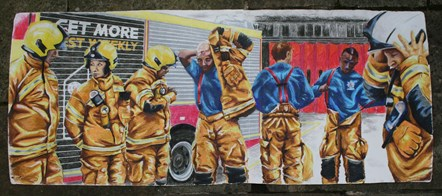 An image of firefighters which forms part of an exhibition at Islington Museum celebrating their work