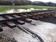Damaged caused by flooding to Conwy Valley line