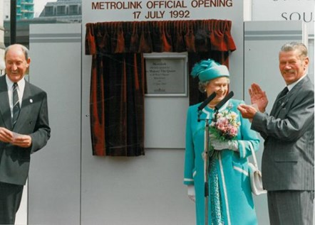 HRH The Queen opens Metrolink at St Peter's Square (2): HRH The Queen opens Metrolink at St Peter's Square on 17 July 1992