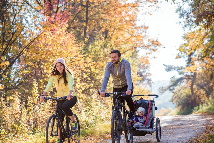 Young family cycling-2