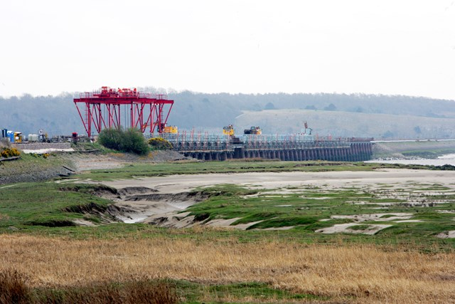 Leven viaduct during refurbishment: Leven viaduct during the £14 million refurbishment that was carried out in 2006.