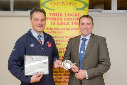 Pictured at last year's awards ceremony, Andy Steven from Moray Rugby Club receives the Club Level award from Sean Pitchard of Diageo: Nominations open for sportMoray 2019 awards