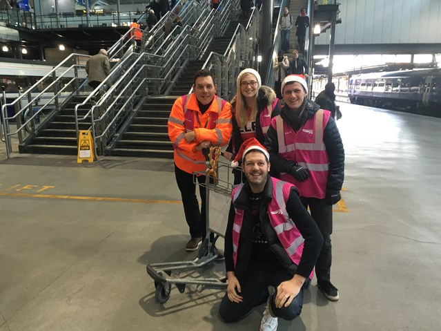 Did you spot this today? Season of goodwill in full swing at Leeds station: Some of the festive fetchers at Leeds station