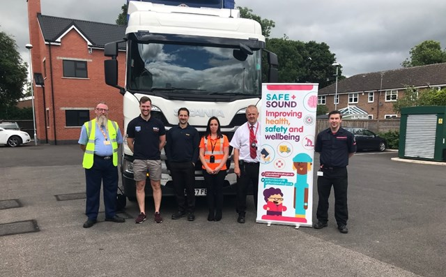 Network Rail warns Walsall and Staffordshire youngsters of dangers of electrified railway: Safe + Sound team L-R Ross- DHL, James Woodhouse - RNLI, Paul Frendo - DHL, Lisa Lewis - Network Rail, Paul Carter - Staffordshire Fire & Rescue, Dave Small - Staffordshire Fire & Rescue