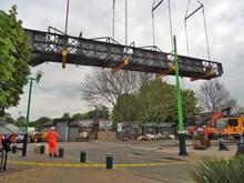 Footbridge removal at Leighton Buzzard station