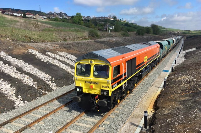 Economic and green boost for the Peak District as £14m rail freight scheme unveiled: Freightliner freight train using the new sidings in Buxton