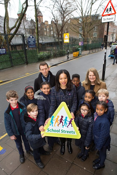School Street - Pupils and staff at St John Evangelist Catholic Primary School, which has Islington's first School Street, with Cllr Claudia Webbe.  Picture taken at start of consultation in March 2018: Pupils and staff at St John Evangelist Catholic Primary School, which has Islington's first School Street, with Cllr Claudia Webbe.  NB Picture was taken at start of consultation in March 2018