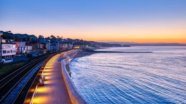Completed first section of Dawlish sea wall at dusk