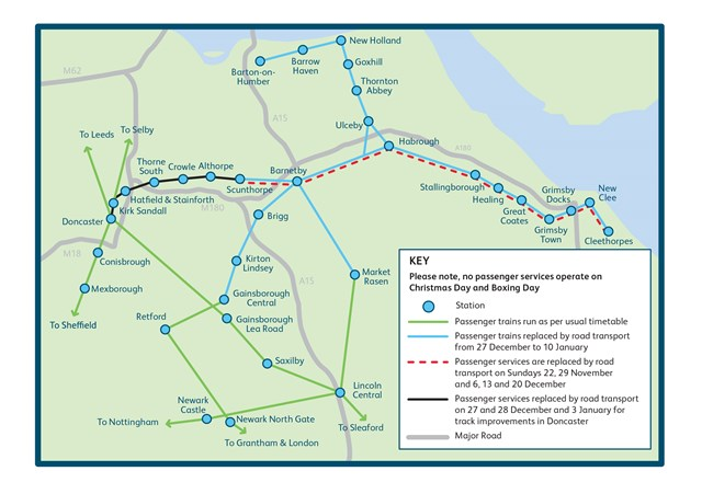 Map showing passenger impact during the £100m investment programme