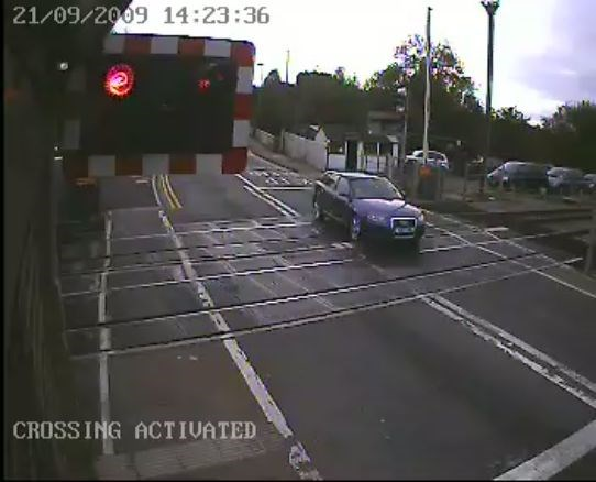 Motorist ignores warning lights at Narborough level crossing, Leicester (3)