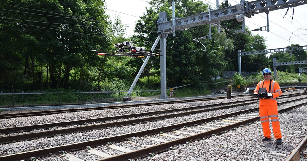 Network Rail take to the skies to improve safety and performance on south western rail network: Drone-depolyed-to-inspect-overhead-line-equipment