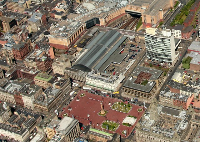 GLASGOW QUEEN STREET: aerial view of Glasgow Queen Street station site