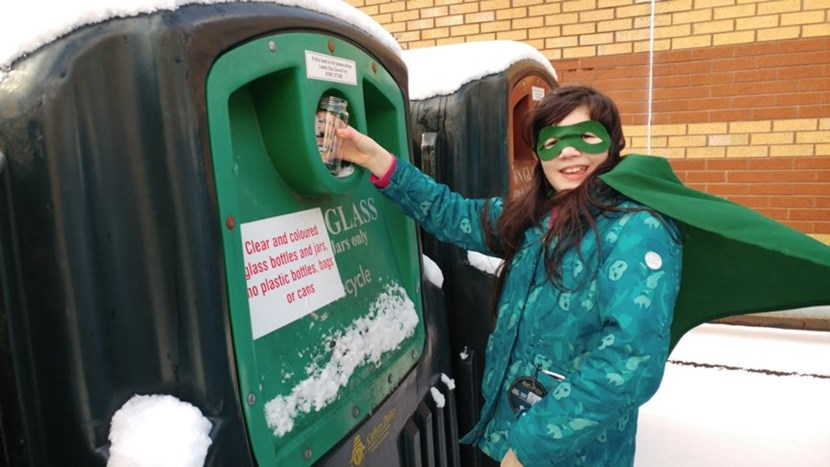 Local girl turns superhero to scoop top glass recycling prize: entryphoto2twitter@leedssar2.jpg