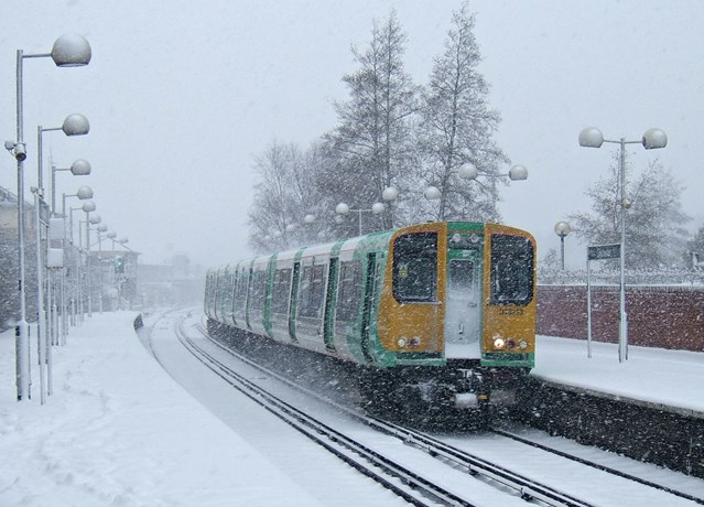 Snow and ice treatment trains ready to keep passengers moving during winter weather: 313 Southern train in snow