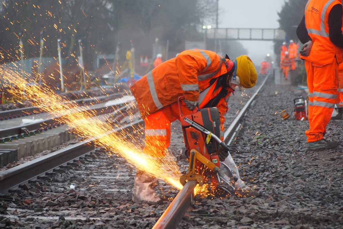 Huge progress made on the Felixstowe branch line to increase freight traffic and improve reliability for passengers: Felixstowe S&C installation 3