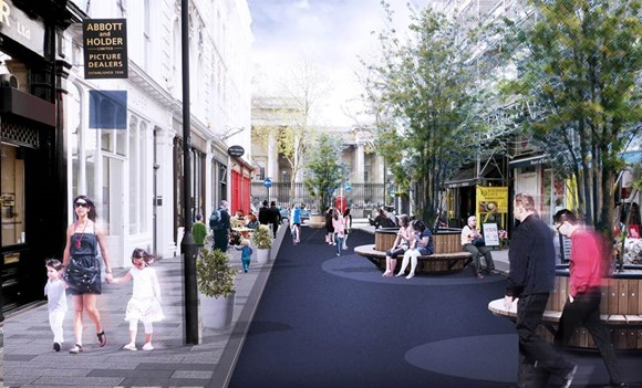 TfL Press Release - Eleven new projects to receive £50 million investment to create healthy streets across London: Image - Museum St, Camden (Copyright Arup and Bee Midtown - used courtesy of Arup)