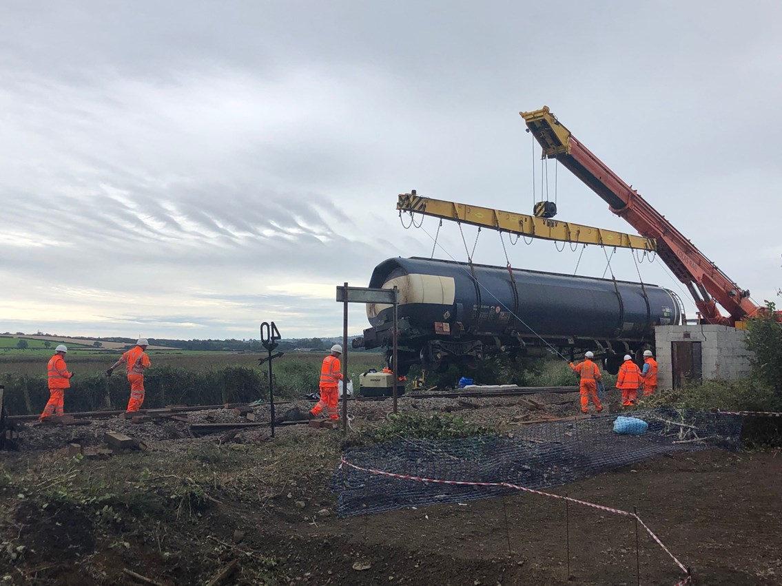 Wagons have been lifted from the site at Llangennech