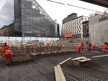 London Bridge concourse foundations: Final preparations are made on the foundations of the remaining section of London Bridge's street level concourse, ahead of one of the last concrete pours.