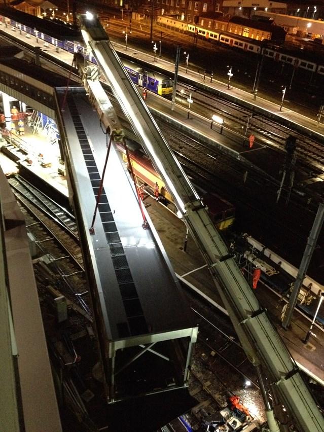 Media event - Opening of platform 0 at Doncaster station: Platform 0 being installed at Doncaster station
