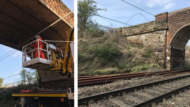 Emergency 25,000v overhead line repairs keep critical supplies moving on West Coast main line: Carlisle dewirement composite