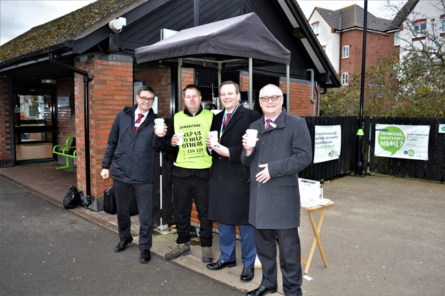 Martin Frobisher, London North Western MD; Matthew Chatterton, barista; Mark Killick, LNW chief operating officer; Neil Bamford, London Midland asset maintenance director