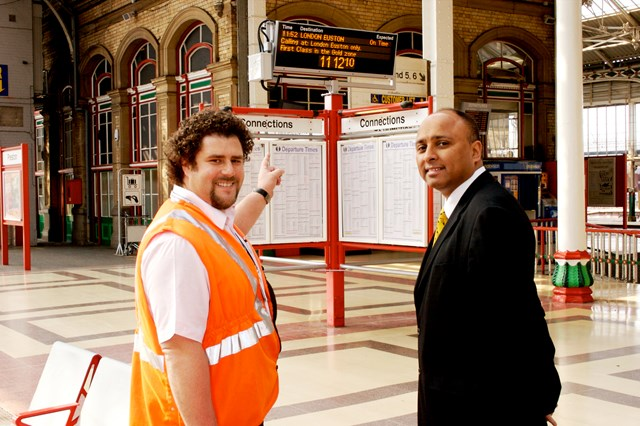 Customer Information Screens (Preston): Gary Openshaw, Area General Manager for Lancashire and Cumbria demonstrates the new customer information screens at Preston station to Mark Hendrick MP