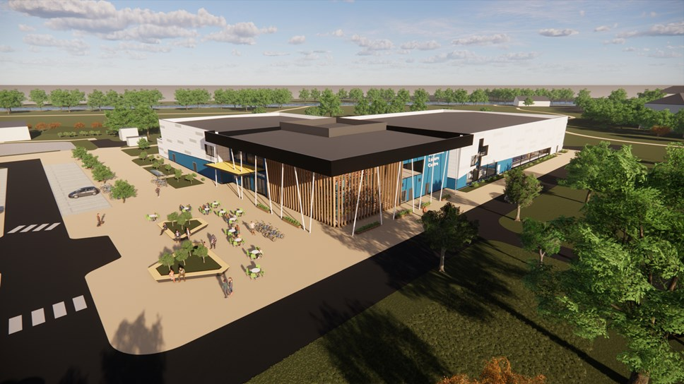 Rivermead - new leisure centre aerial view