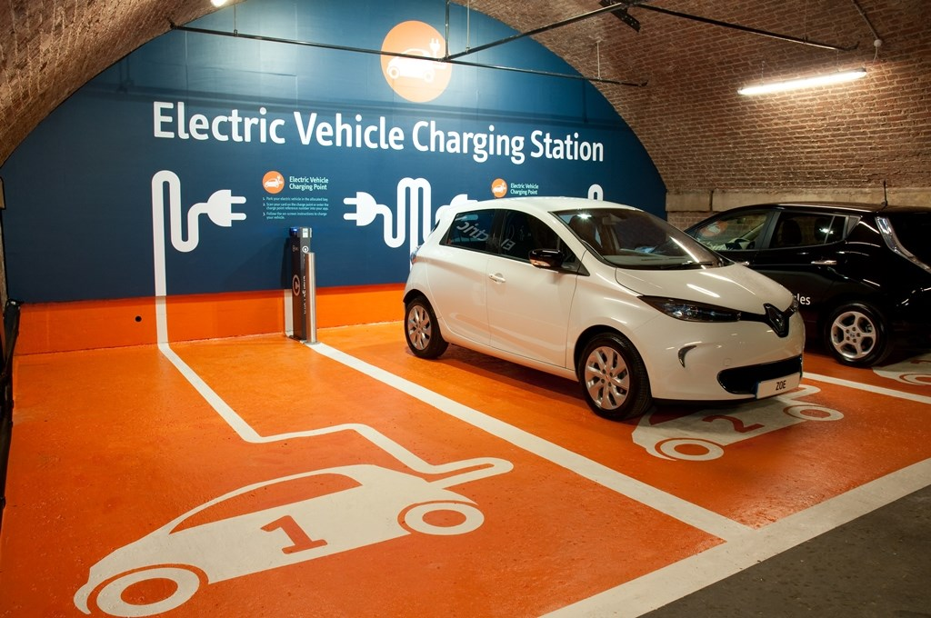 Electric vehicle charging point at Manchester Central car park, Manchester