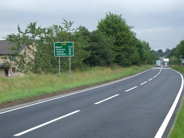 A96 Road at Huntly