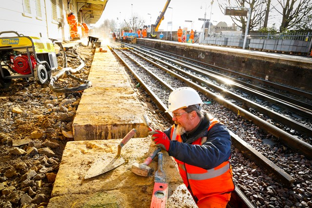 Better, more reliable train services for the south as Network Rail's orange army work through Storm Katie to complete Easter upgrade works on time: Wandsworth Town 3