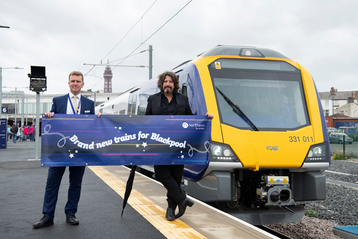 New trains launched at Blackpool North: North MD David Brown wlecomes new electric trains to Blackpool North alongside Laurence Llewelyn-Bowen