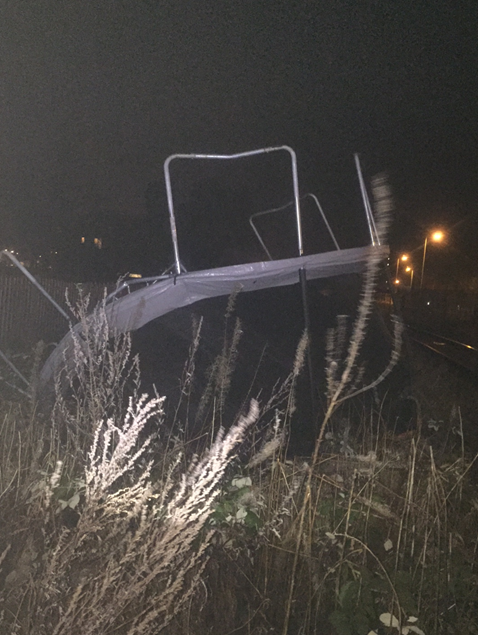 trampoline blown on to the railway at Aylesbury