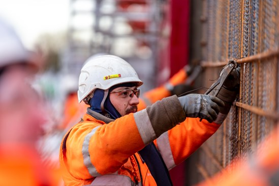 Engineer working at HS2 Willesden Euroterminal site in Old Oak Common in West London HS2-VL-20378