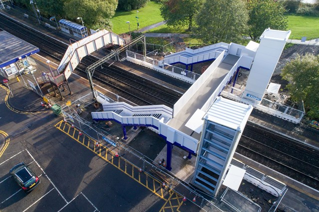 Footbridge opening at Westerton is step towards improved accessibility: Westerton Aerial