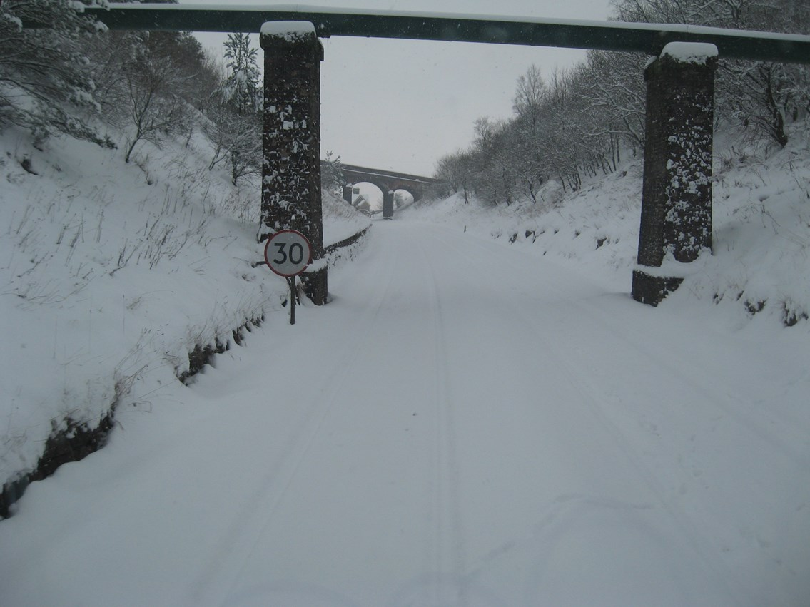 Snow on the Settle - Carlisle line_2: The rails are barely visible beneath the snow (the Up approach to Dent station)