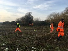 Gospel Oak to Barking team working to create a meadow on Walthamstow Wetlands
