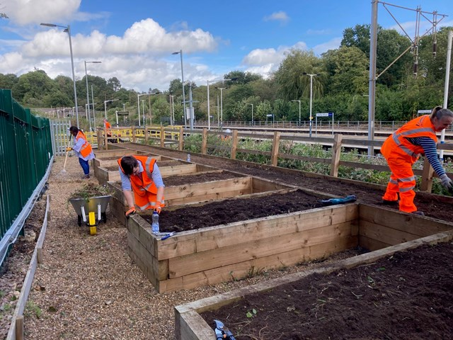 Network Rail joins Great Northern to tidy up Hadley Wood flowerbeds