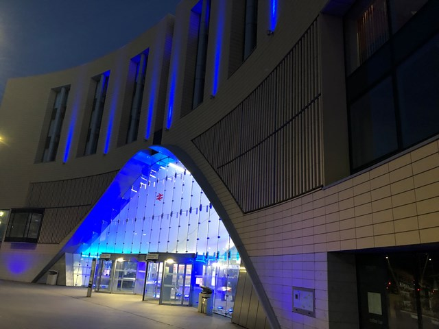 Dundee station Lit Blue for our NHS heroes: 20200514 210417072 iOS-2