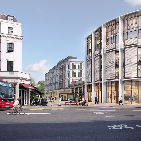 TfL Press Release - New vision to revitalise South Kensington Tube station and enhance the historic surrounding space with new homes, shops and workspace: Image 3 - The Bullnose and New Station Entrance on Thurloe Street - copyright Rogers Stirk Harbour + Partners
