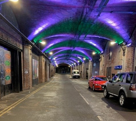 Leeds arches lit up green and blue for Blue Monday and Samaritans-2