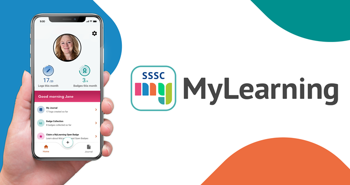 MyLearning app logo and image of the app being used on a smartphone