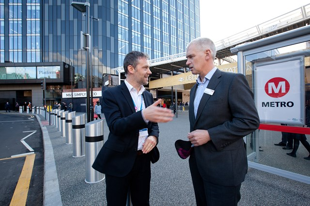 L to R - Leeds City Council and West Yorkshire Combined Authority Transport Committee member Cllr Peter Carlill and Rob McIntosh, Managing Director, Eastern, for Network Rail outside Leeds station